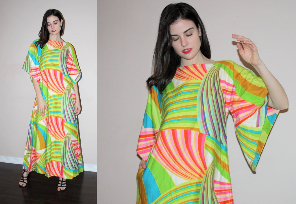 Vintage 1960s Psychedelic Hippie Abstract Graphic Boho Festival 60s Maxi Dress