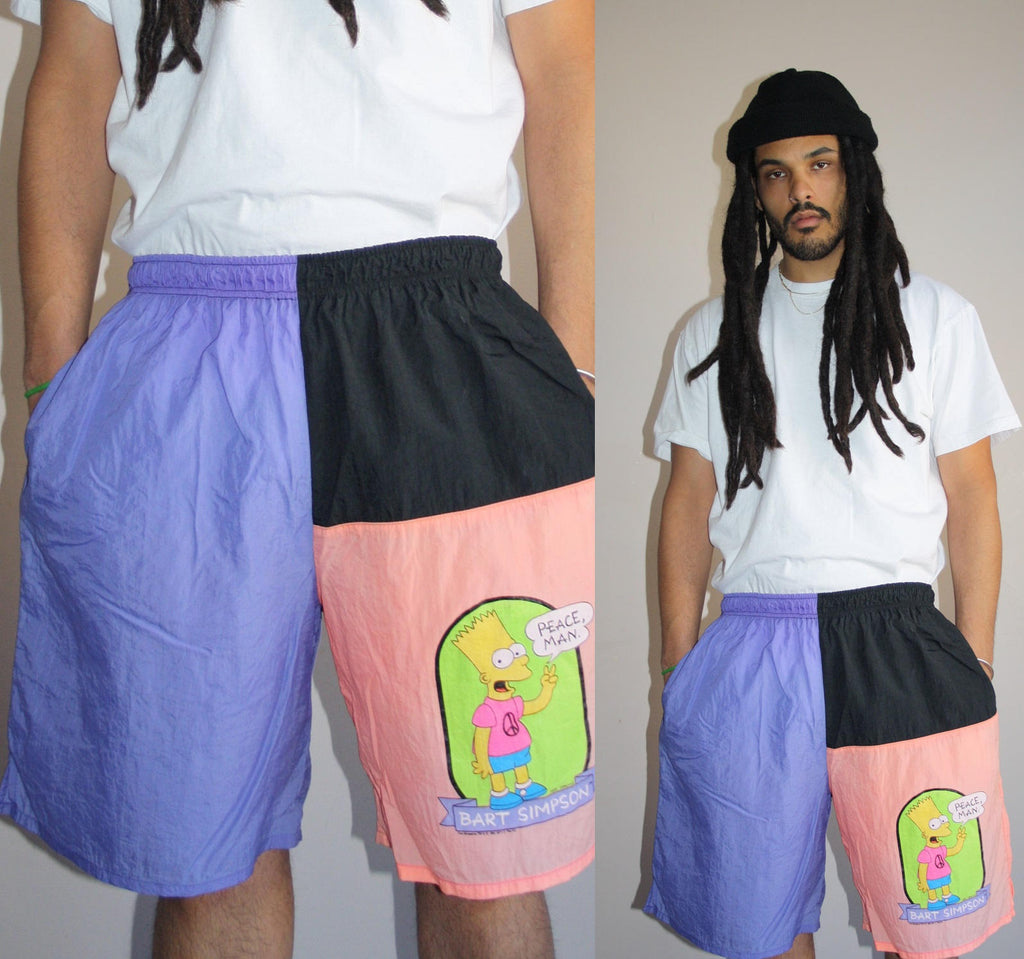 1990s Vintage Graphic Neon Bart Simpson Colorblock Hip Hop Rap XL Swim Trunks Men