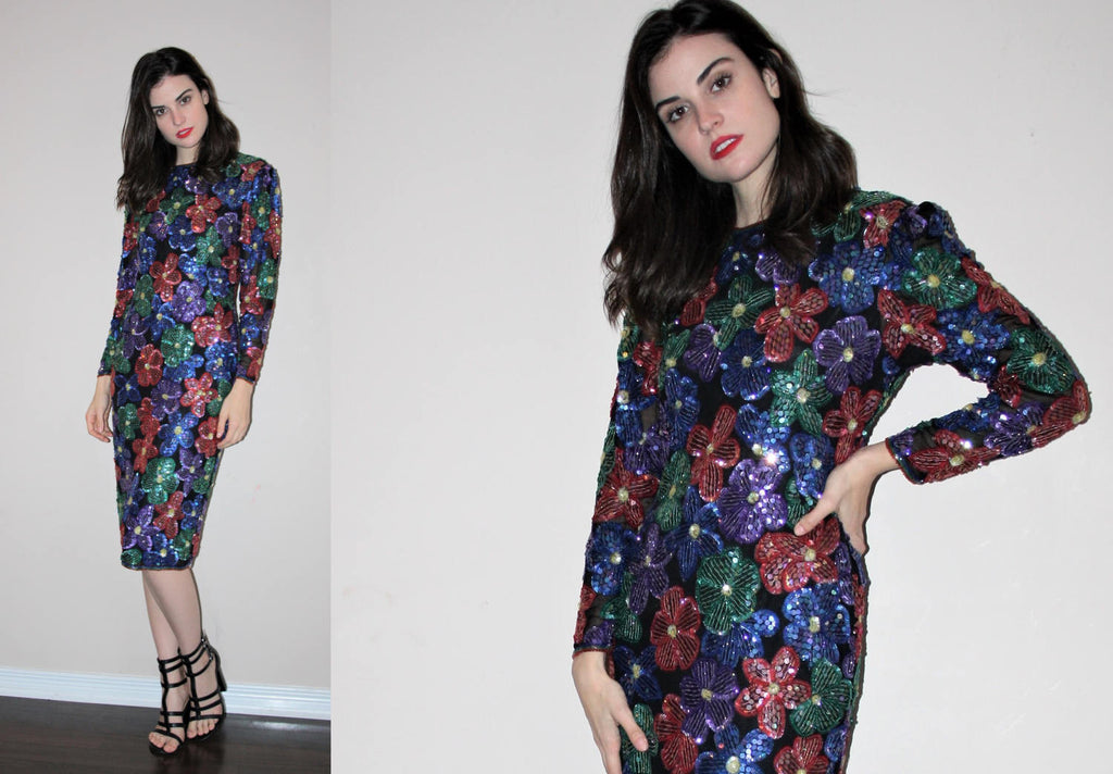 Vintage 1980s Rainbow Sequin Floral Glam Beaded Cocktail Dress