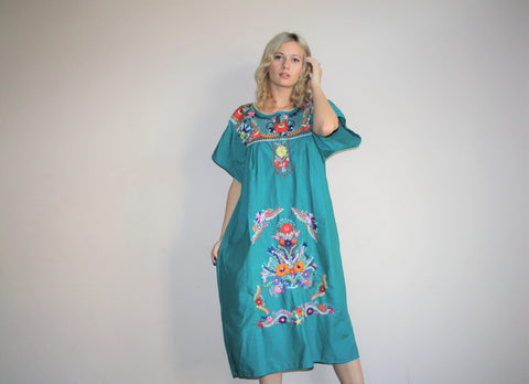 Vintage 1960s Oaxacan Green Midi Rainbow Floral Embroidered Boho Hippie Folk Ethnic Mexican Wedding Cotton Dress