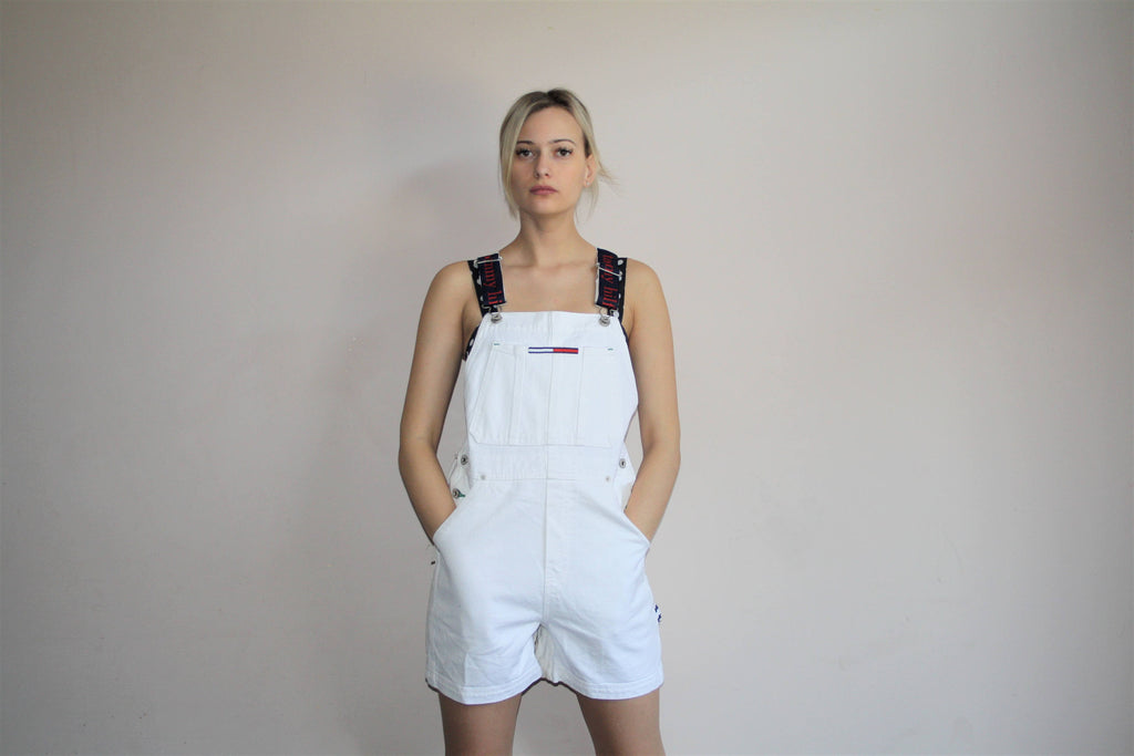 1990s Tommy Hilfiger Deadstock White Denim Overall Shorts
