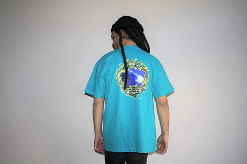 90s OP Ocean Pacific Teal Graphic Wave Floral Hawaiian Surf T Shirt