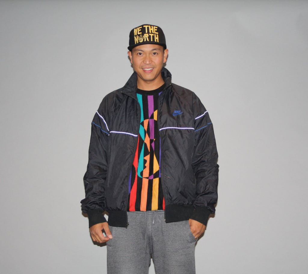 1990s Nike Black and Blue Colorblock Rap Rapper Hip Hop Windbreaker Jacket