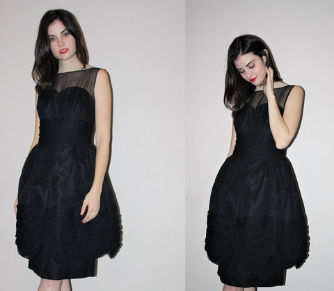 1950s Black Avant Garde 50s Pinup Bombshell Prom Illusion Sweetheart Sheer Cocktail Dress