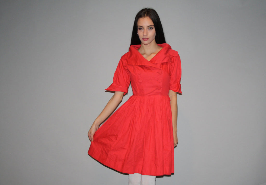 Vintage 1950s Coral Red Cotton Party Dress