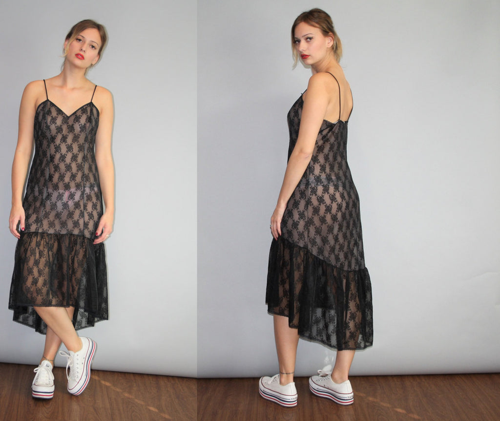 Vintage 1990s Goth Gothic Sheer See through Delicate Black Lace 90s Slip Dress