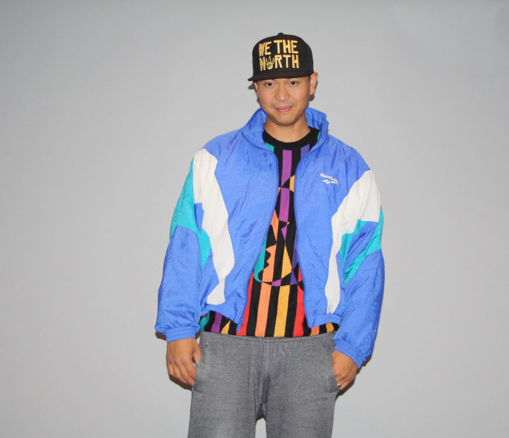 1990s Vintage 90s Colorblock Reebok Oversized XL Graphic Blue Hip Hop Rap Rapper Windbreaker Jacket