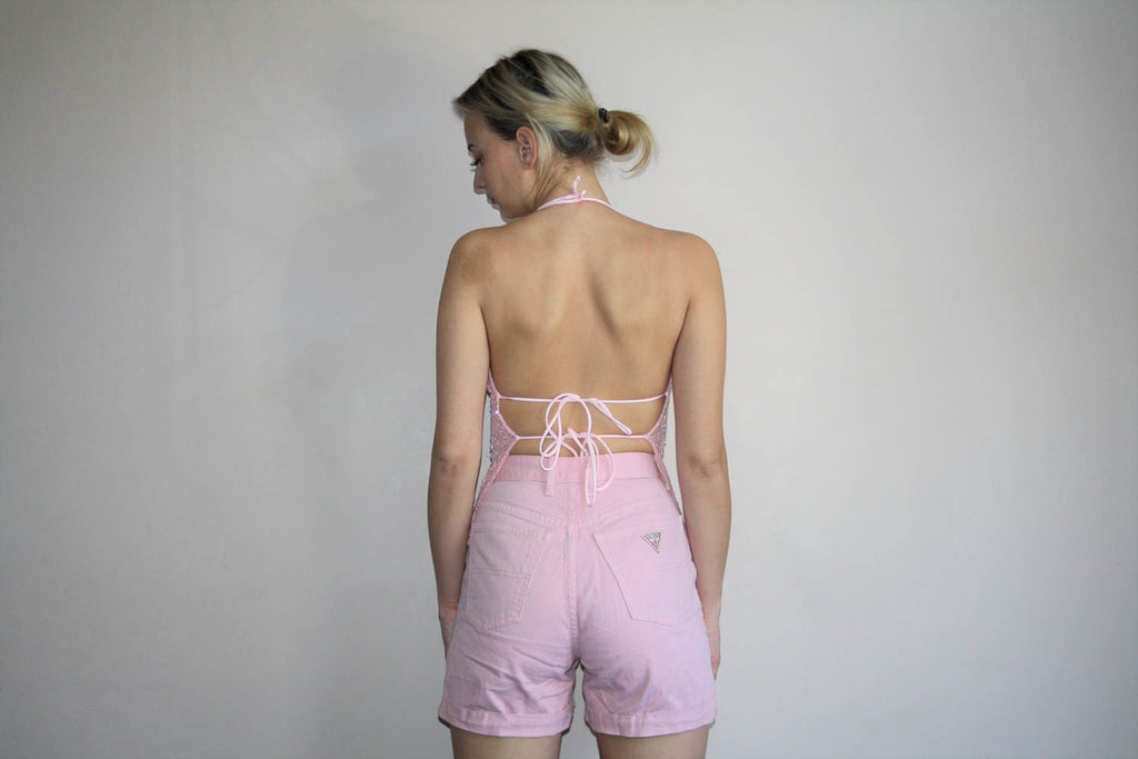 Guess Jeans Vintage 90s High Waist Pastel Pink Denim Jean Shorts