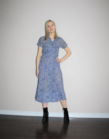 1940s Blue Graphic Print Sheer Bombshell Dress