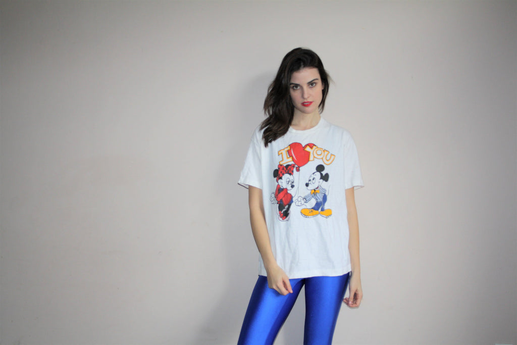 Vintage 90s Mickey Mouse and Minnie Mouse Love T Shirt