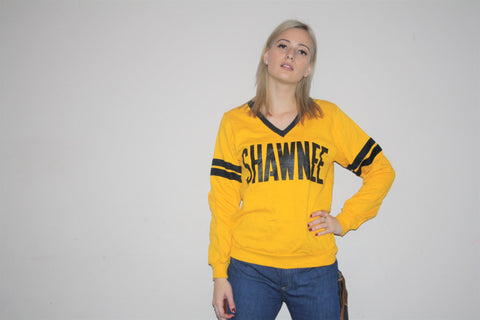 1970s Vintage SHAWNEE First People's Native American Aboriginal Tribe Indian V Neck Sweatshirt