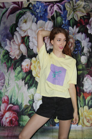 VTG 90s Yellow Guess Lavender Pastel Neon striped Paper Thin T Shirt - 90s Guess Georges Marciano