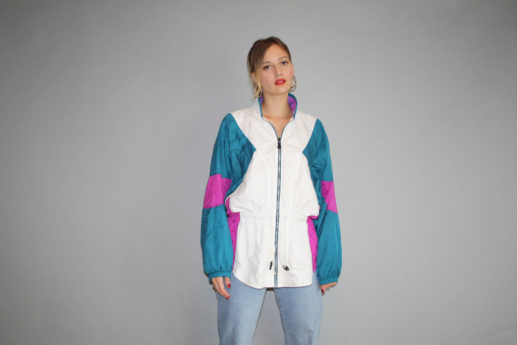 1980s Graphic Nike White Pink and Blue Colorblock Urban Hip Hop Nylon Windbreaker Jacket
