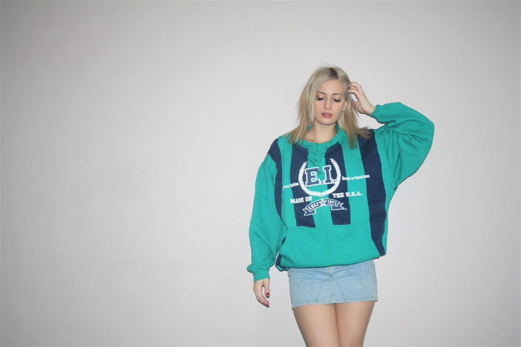 1990s Vintage ENUF Logo E.N.U.F. International Green Striped Colorblock Graphic Abstract Hip Hop Sweatshirt