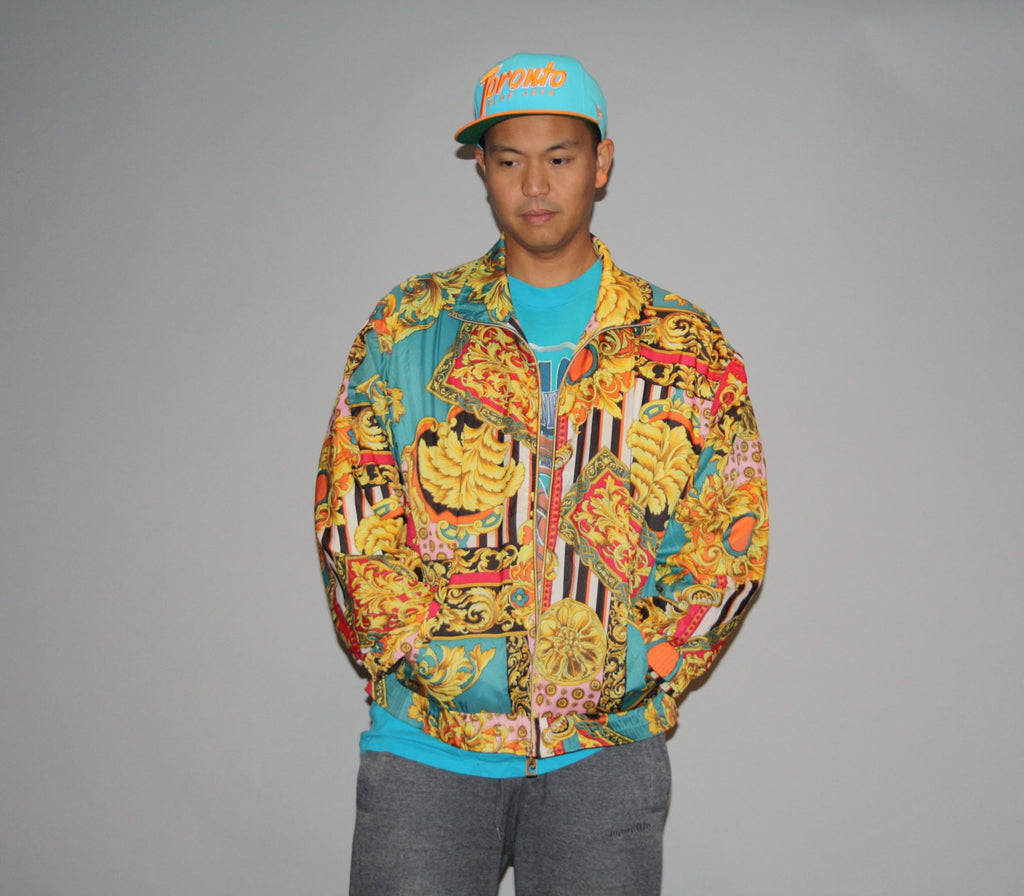 90s Pierre Cardin Graphic Abstract Royalty Fresh Prince Scarf Bomber Jacket