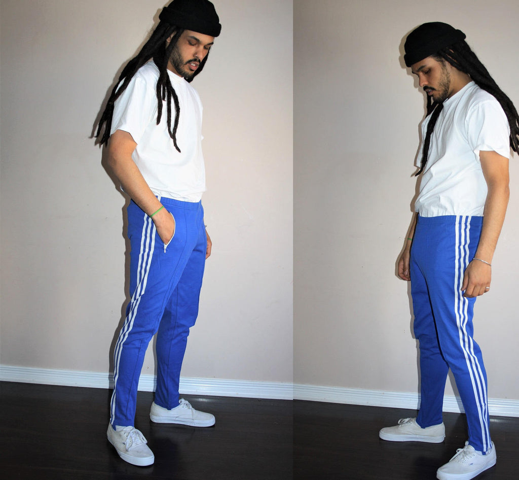 Vintage 70s Adidas Trefoil Blue Three Stripe Running Athletics Pants