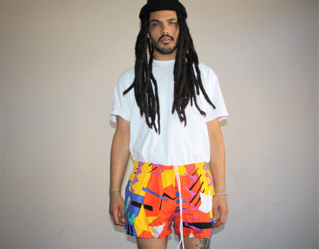 1990s Vintage Graphic New Wave Swim Trunks Men