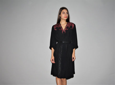 1940s Dramatic Black Lace Vintage Rayon Dress
