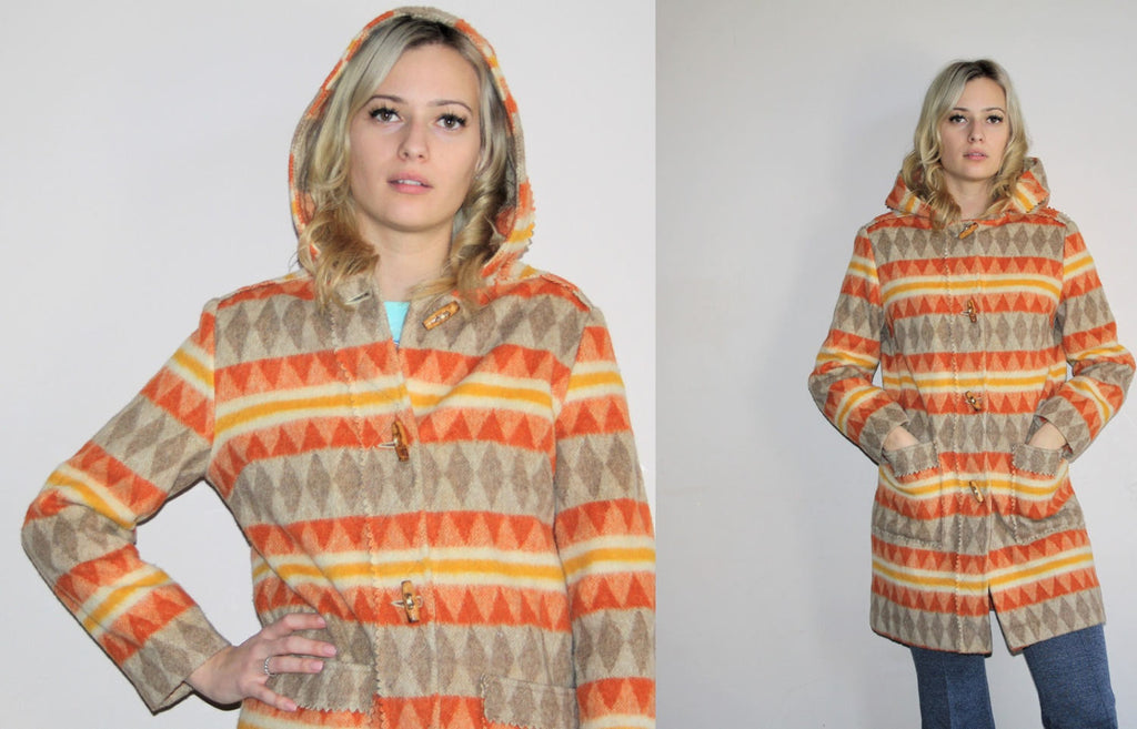 Southwestern Vintage 1960s Boho Hippie Wool Geometric Ombre Orange Abstract Hooded Long Coat