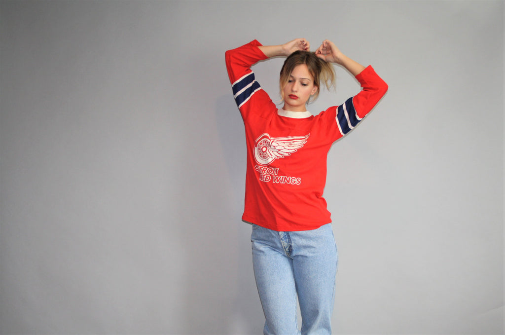 1980s Vintage Detroit Red Wings NHL Hockey Jersey Crew Neck T Shirt