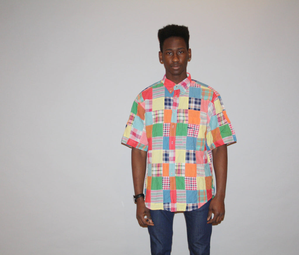 1990s Fila Plaid Patchwork Fresh Prince Hip Hop Dress Shirt