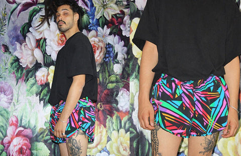 1990s Vintage Graphic Speed Short Neon Abstract Black Rainbow Tropical Surf Swim Trunk Shorts