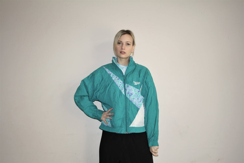 1990s Vintage Reebok New Wave Abstract Graphic Windbreaker Jacket