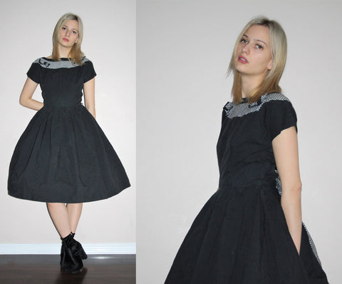 Vintage 1950s Black and White Gingham Cotton Cupcake Pinup Bombshell Party Dress