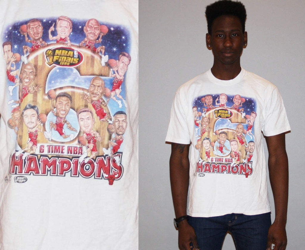 1990s Vintage Chicago Bulls 6 Time NBA Champions Basketball T Shirt