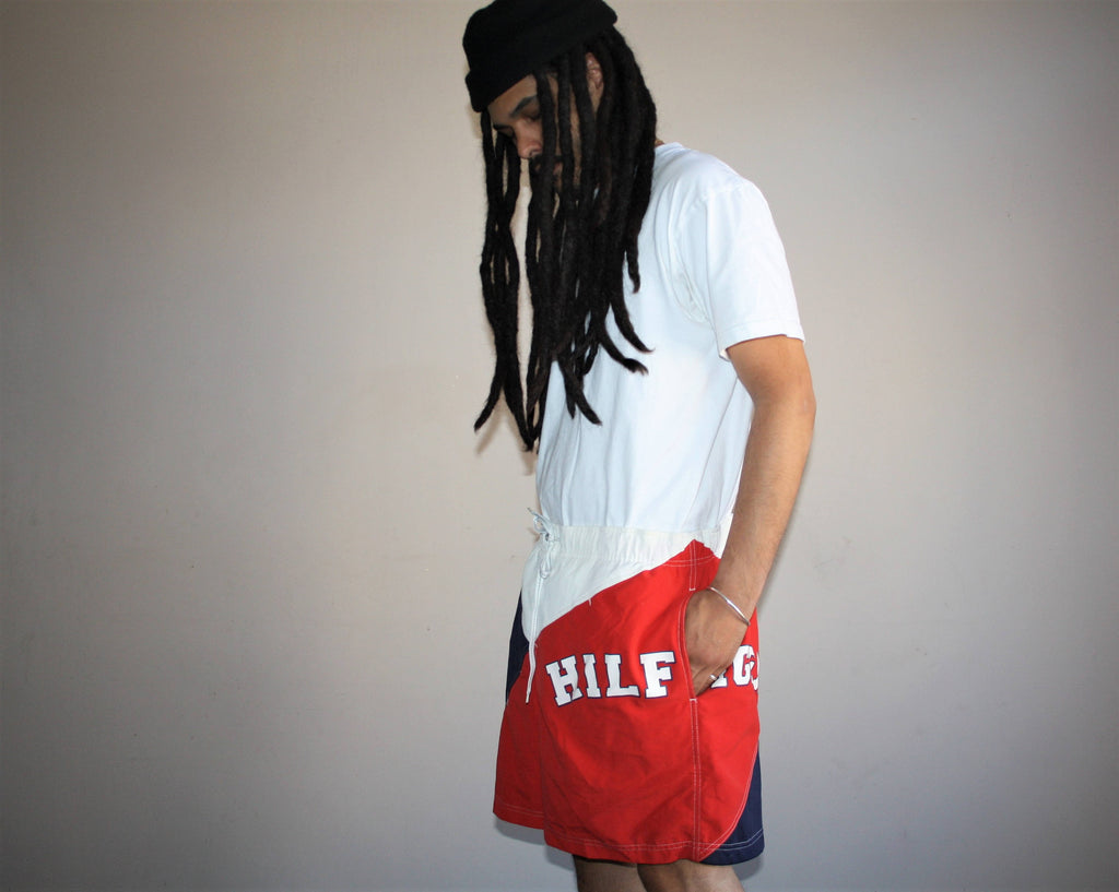 Tommy Hilfiger 1990s Vintage Graphic Colorblock Nautica Hip Hop Rap Rapper Swim Trunks Men