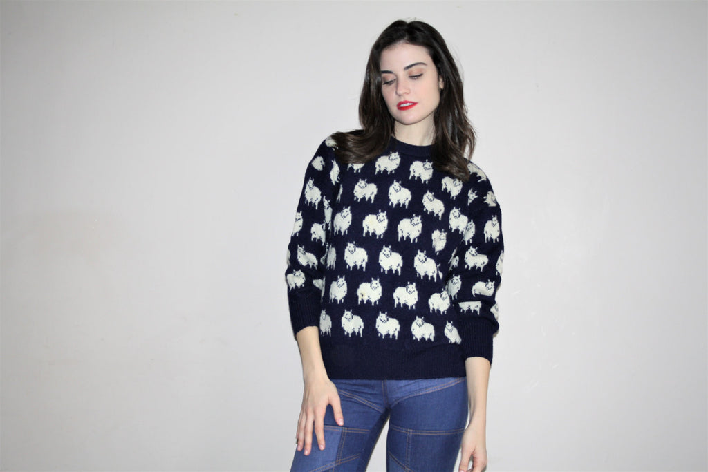 Vintage 1960s Blue Wool Knit Sheep Print Pullover Sweater