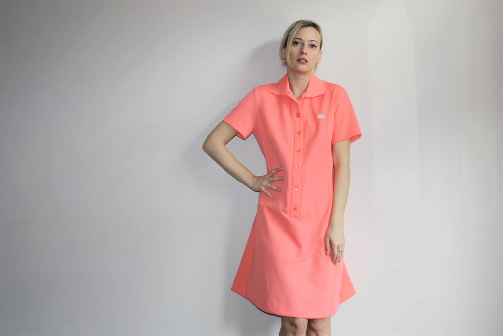 1960s Vintage Lacoste Izod Pink Pastel Tennis Shirt Dress