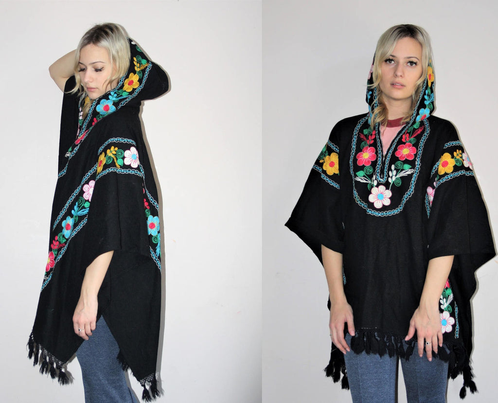 1960s Vintage Embroidered Rainbow Floral Hooded Fringe Poncho Cape