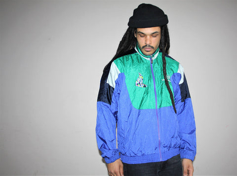 1980s Designer Sergio Tacchini Sportswear Blue and Green Colorblock Windbreaker