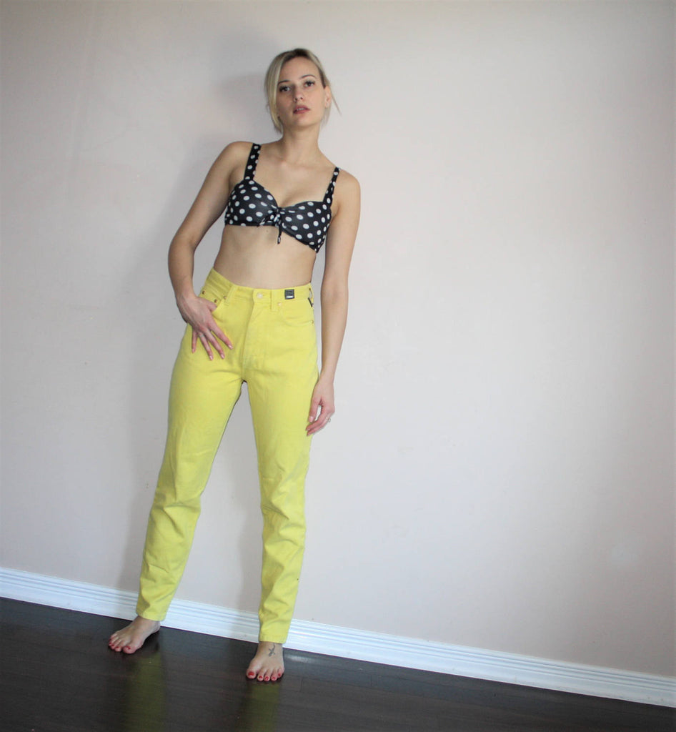 90s Vintage Versace Designer High Rise Yellow Denim Jeans