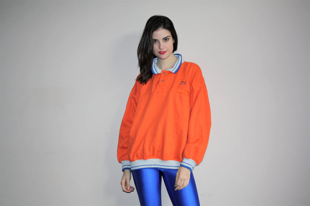 1990s Vintage Puma Orange Polo Neck Hip Hop Pullover Sweatshirt
