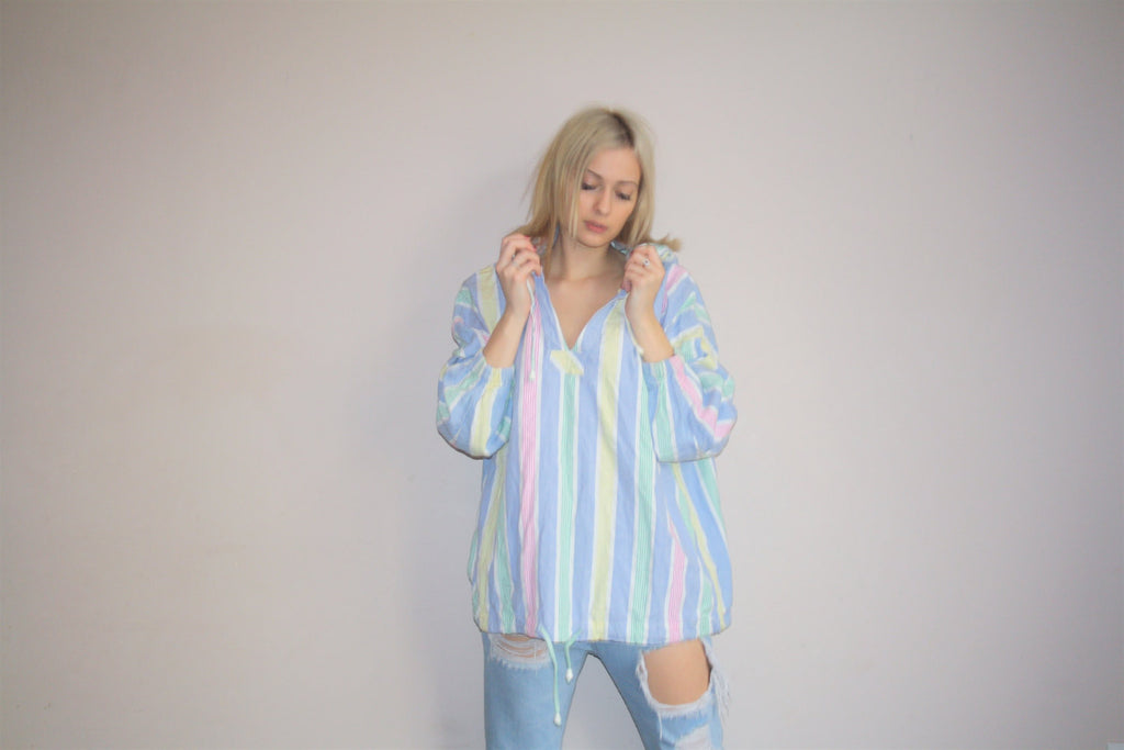 1990s Striped Rainbow Pastel Hooded Sweater