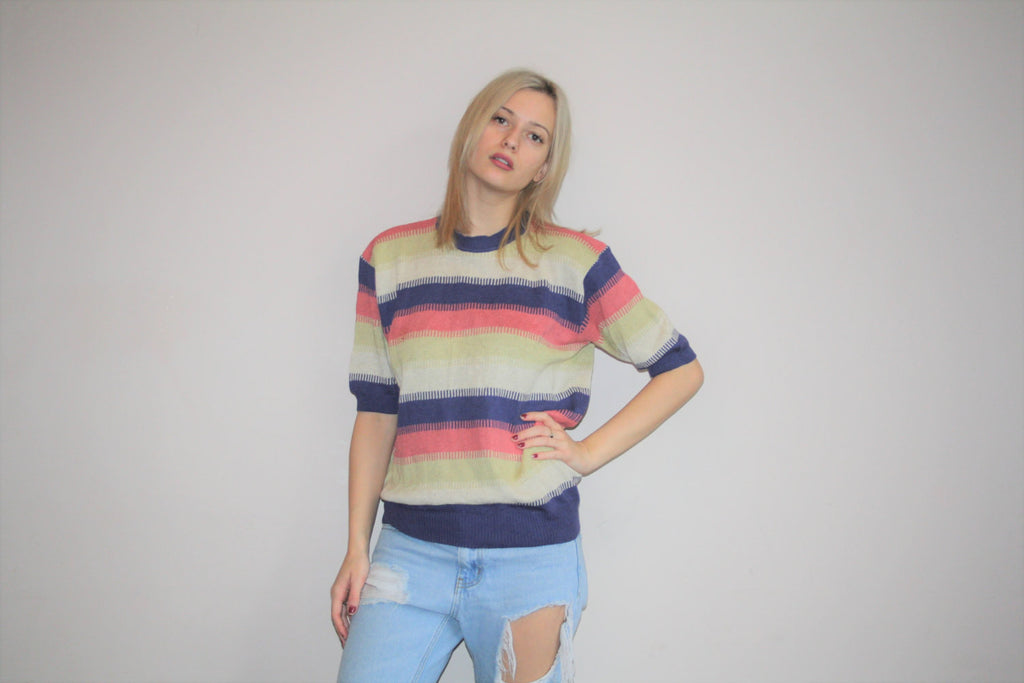 1980s Vintage Armani Colorblock Striped Mod Inspired Sweater T Shirt