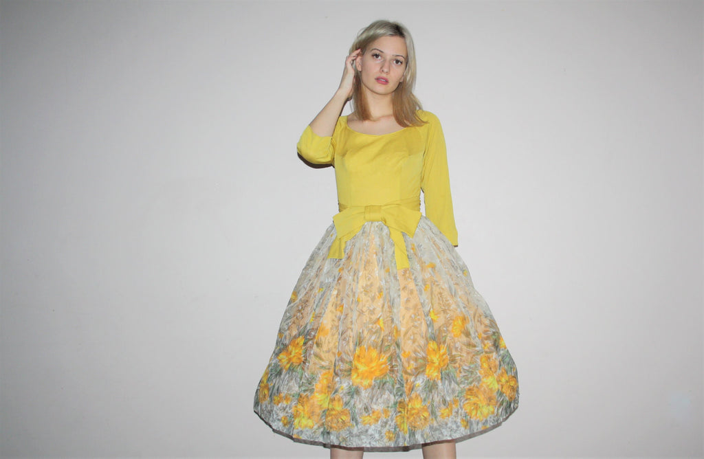 Novelty Border Print Floral 50s Gold Mustard Prom Party Dress