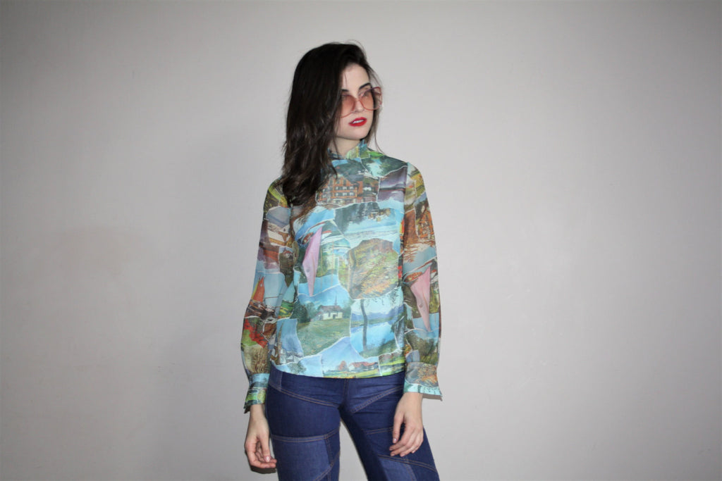 60s Vintage Graphic Abstract Novelty Tourist Nature Photos Blouse