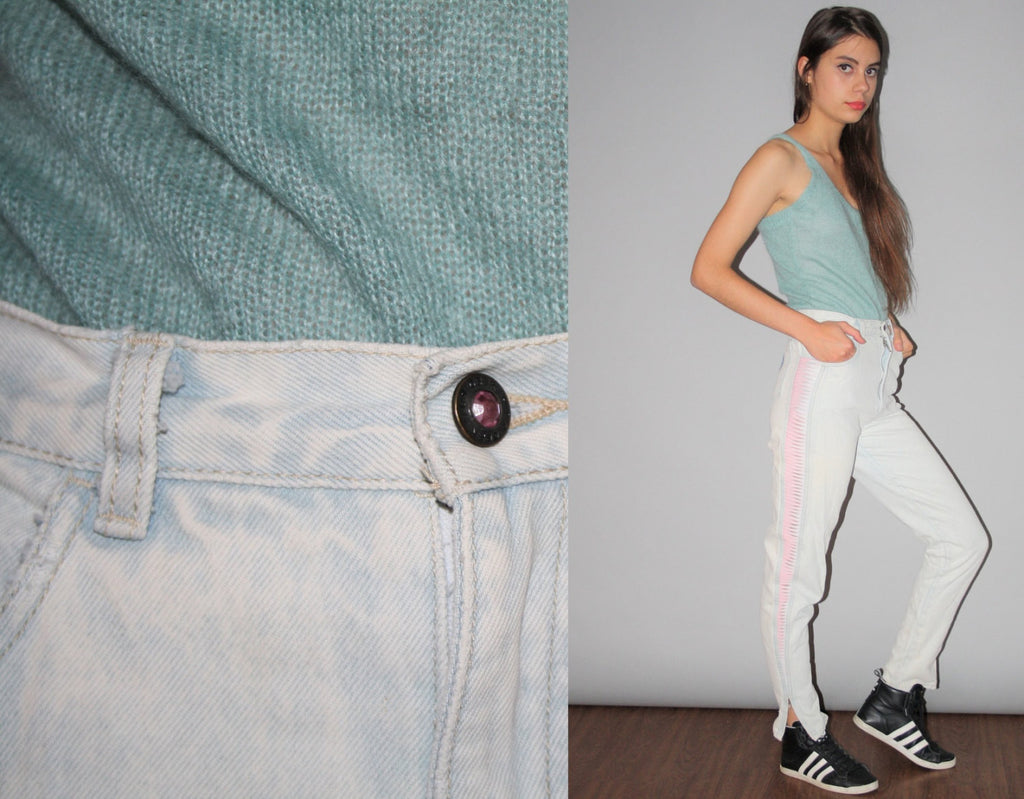 80s LA Gear Pink Acidwash Skinny Denim Tapered Jeans with Zip Bottoms