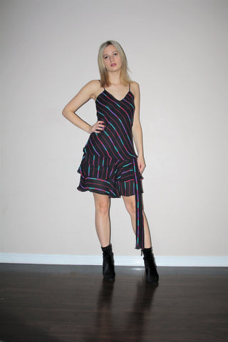 Vintage 1980s Black Rainbow Graphic Abstract Minimalist Drop Waist Flapper Slip Dress With Frill Skirt