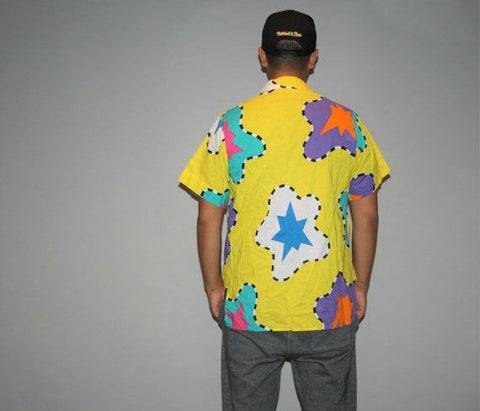 1990s Graphic Yellow Neon Vintage OP Ocean Pacific Tribal Surfer Dress Shirt