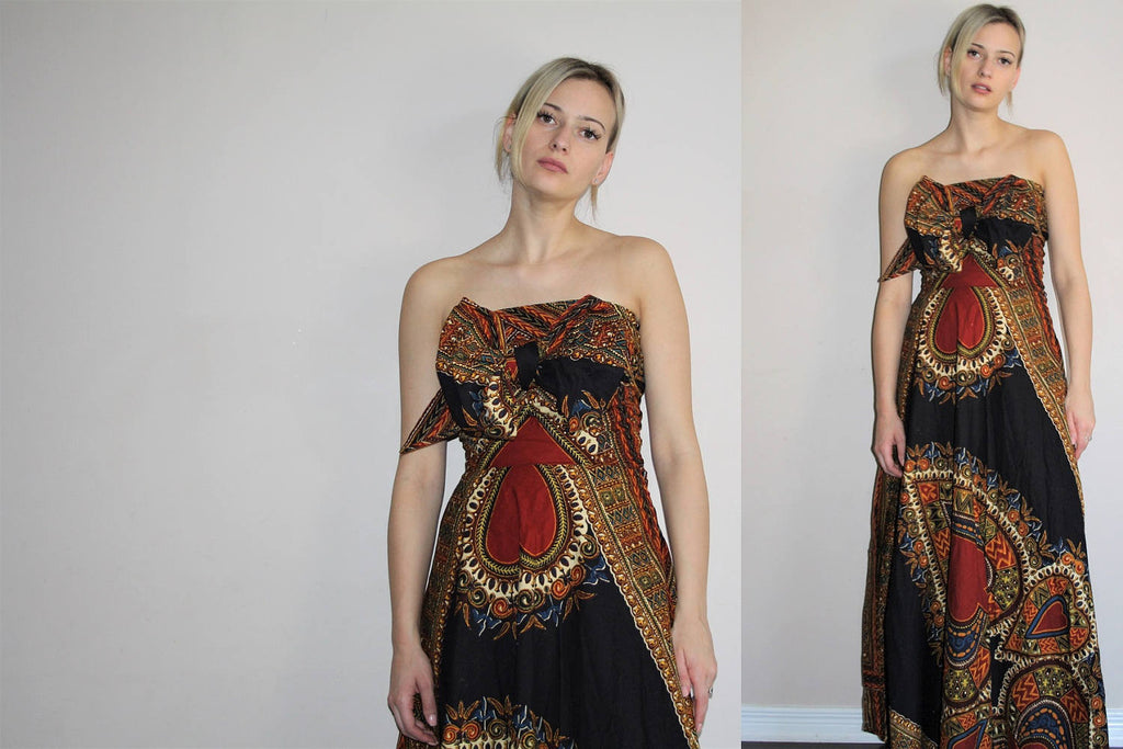 Tribal Dashiki Vintage 1960s Orange African Wax Print Convertible Strapless Maxi Dress