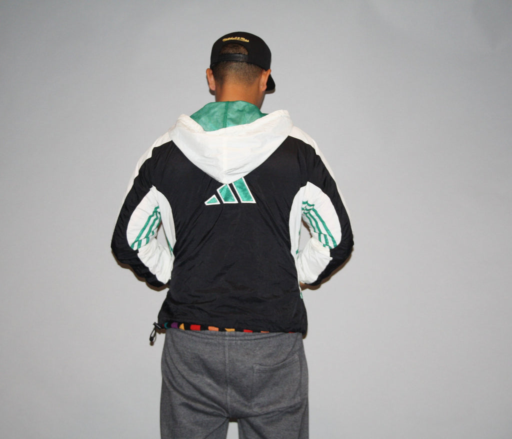 Vintage 1990s Green and Black Adidas Trefoil Colorblock Oversized Rap Rapper Windbreaker Jacket