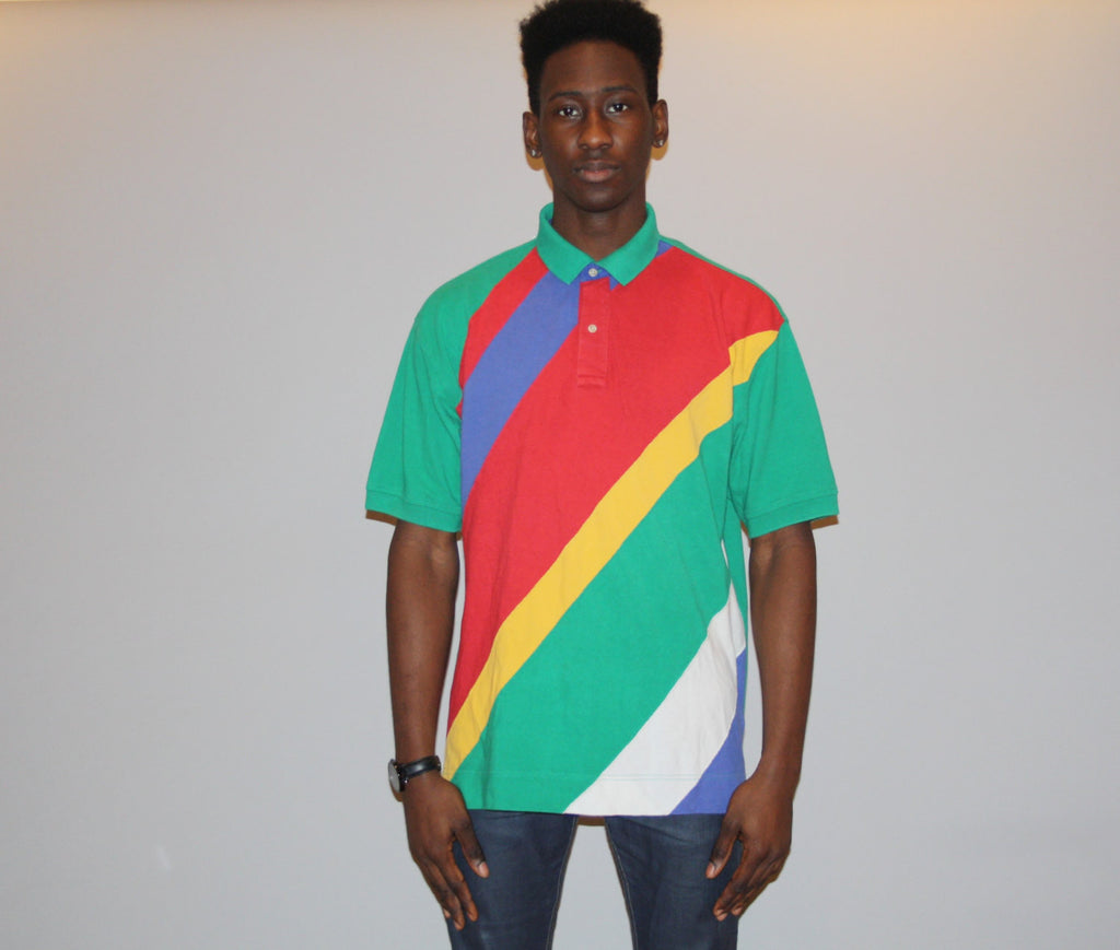 XL 90s Tommy Hilfiger Cross Colors Colorblock Graphic Polo Shirt -
