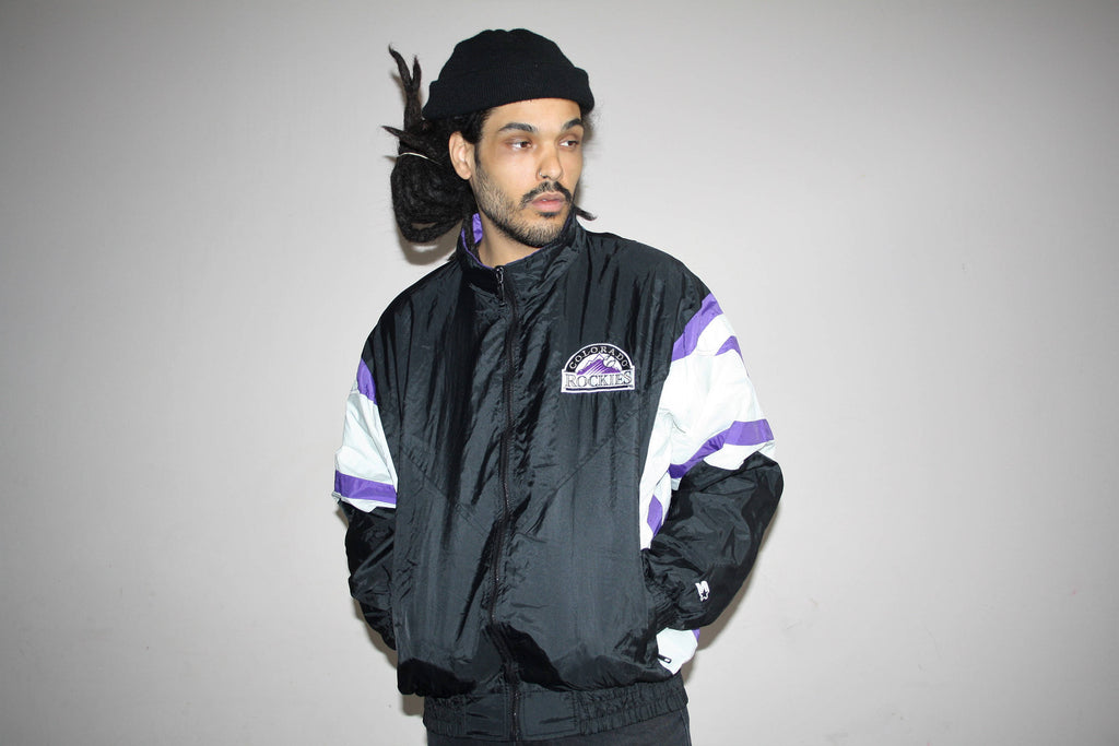 1990s Vintage Colorado Rockies MLB Baseball Starter Brand Windbreaker Hip Hop Jacket