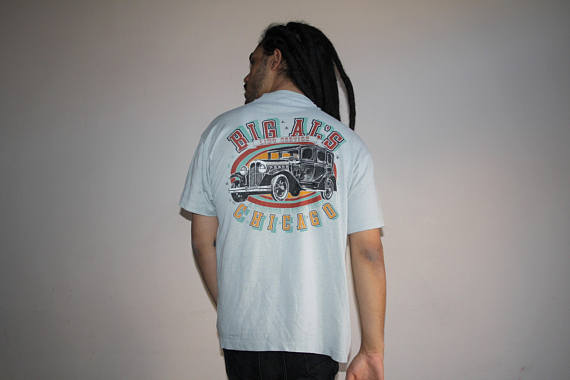 Screen Stars Chicago Classic Car Paper Thin Graphic 50 50 Cotton Poly T Shirt