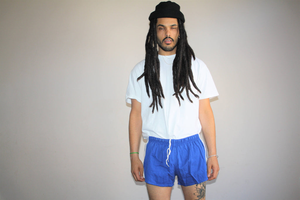 Vintage 70s Adidas Trefoil Blue Three Stripe Running Gym Shorts