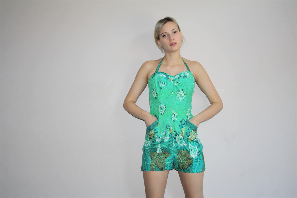 1950s Novelty Hawaiian Border Print Floral Bombshell Pinup 50s Cotton Swim Suit